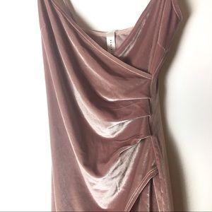 Blue Blush Dresses - Blue Blush pink velvet bodycon faux wrap dress